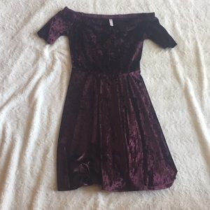Purple/maroon velvet off the shoulder dress